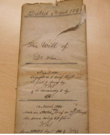 Draft of Last Will Dr Joseph Fox 1830