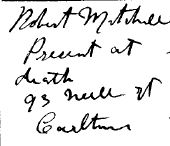 Death Register Entry Ellen Mitchell