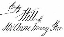 Last will of Anne Mary Fox(-Guion) (1798-1876)