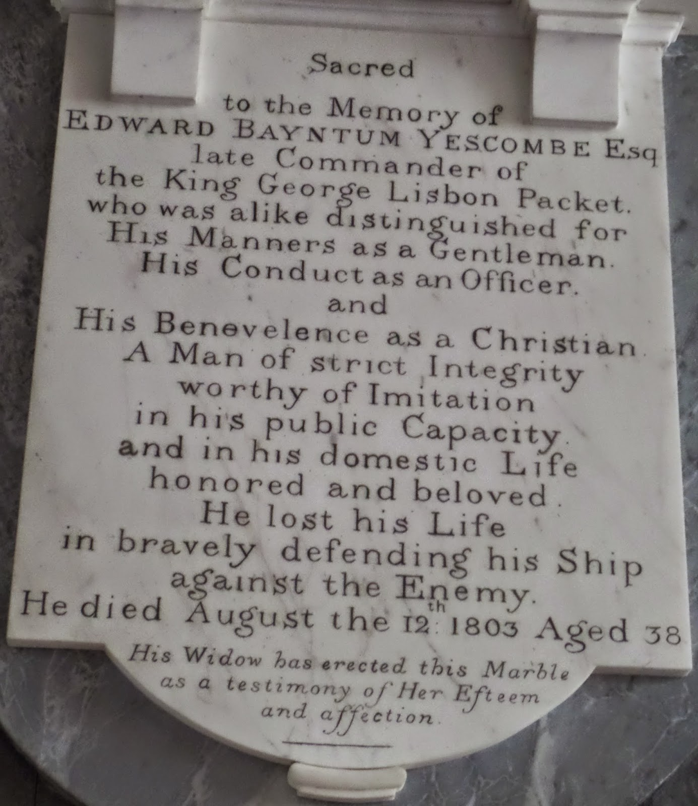 Memorial Capt. Edward Yescombe